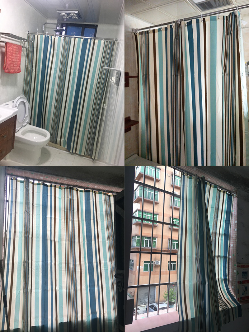 Hakoona Bathroom Vertical Stripes Shower Curtain Polyester
