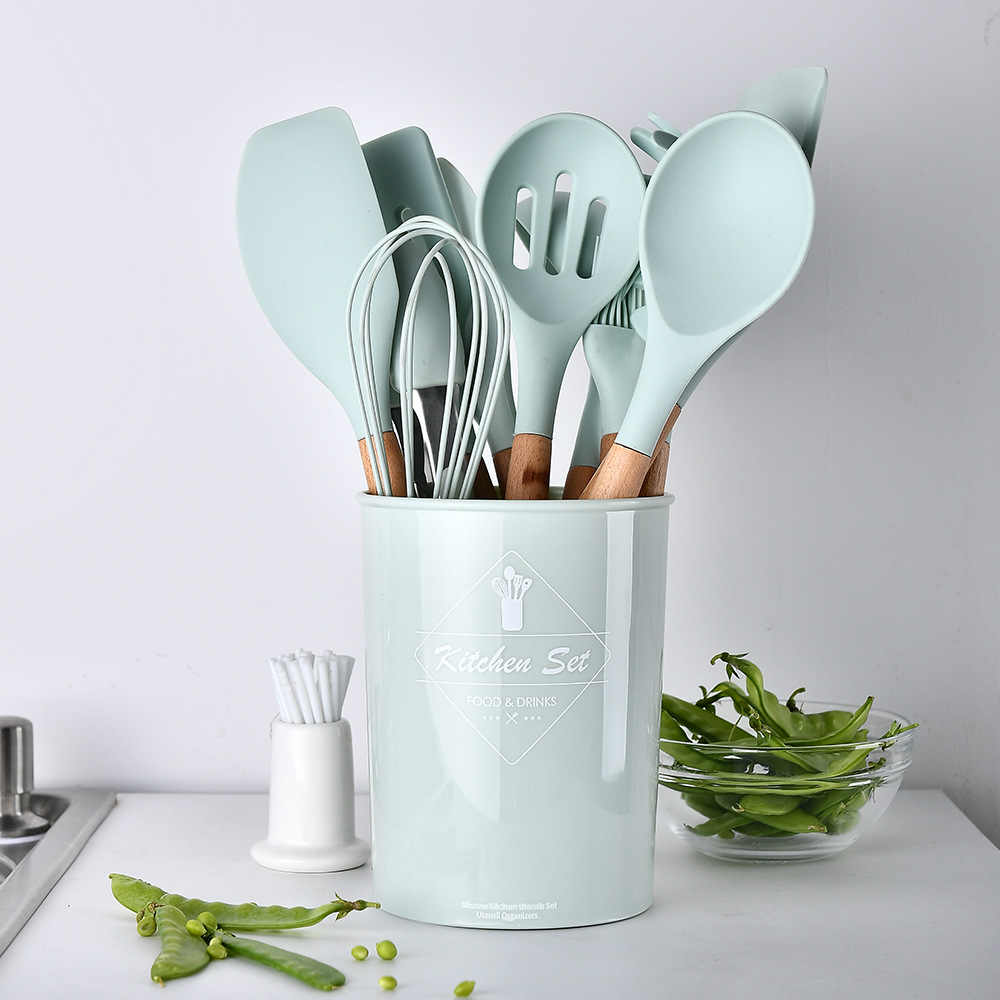 12pcs Set Household Silicone Wooden Cooking Utensil Kitchen Tools Set Koken Gereedschap Met Opbergdoos Turner Tang Spatel Turner