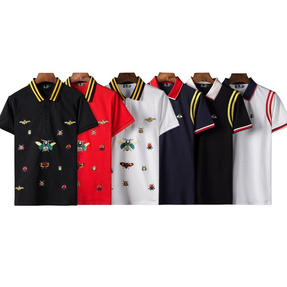 Mens New summer Polo Hommes top qualité 100% coton hommes Polo Chemise À Manches Courtes Broderie Polo Chemise Homme Marque vêtements