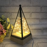 LED Night Light Wooden Floor Lamp Triangle Tower Glass Table Lamp Bedroom Living Room Lights Home Decoration Fixtures Lighting