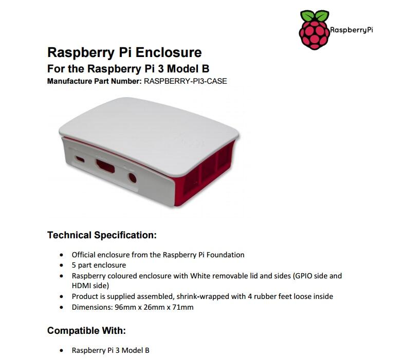 Red//White Official Raspberry Pi 3 Case for Raspberry Pi 3 Model$-$