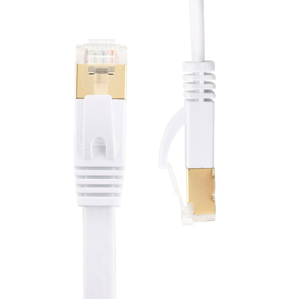 0.3m Cat7 Ethernet Flat Patch Network Cable, Shielded (STP) With Snagless Rj45 Connectors-white