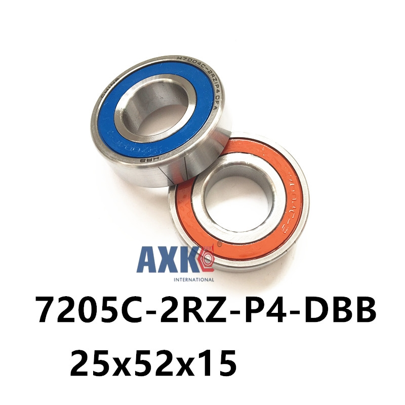 1 pair AXK  7205 7205C-2RZ-P4-DBB 25x52x15 Sealed Angular Contact Bearings Speed Spindle Bearings CNC ABEC 7 Engraving machine 1pcs 71901 71901cd p4 7901 12x24x6 mochu thin walled miniature angular contact bearings speed spindle bearings cnc abec 7