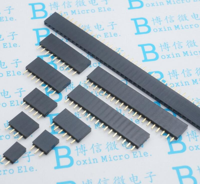 100pcs-single-row-female-254mm-spacing-pin-socket-female-header-connector-2p-3p-4p-5p-6p-7p-8p-9p-10p-12p-14p-40p-free-shipping