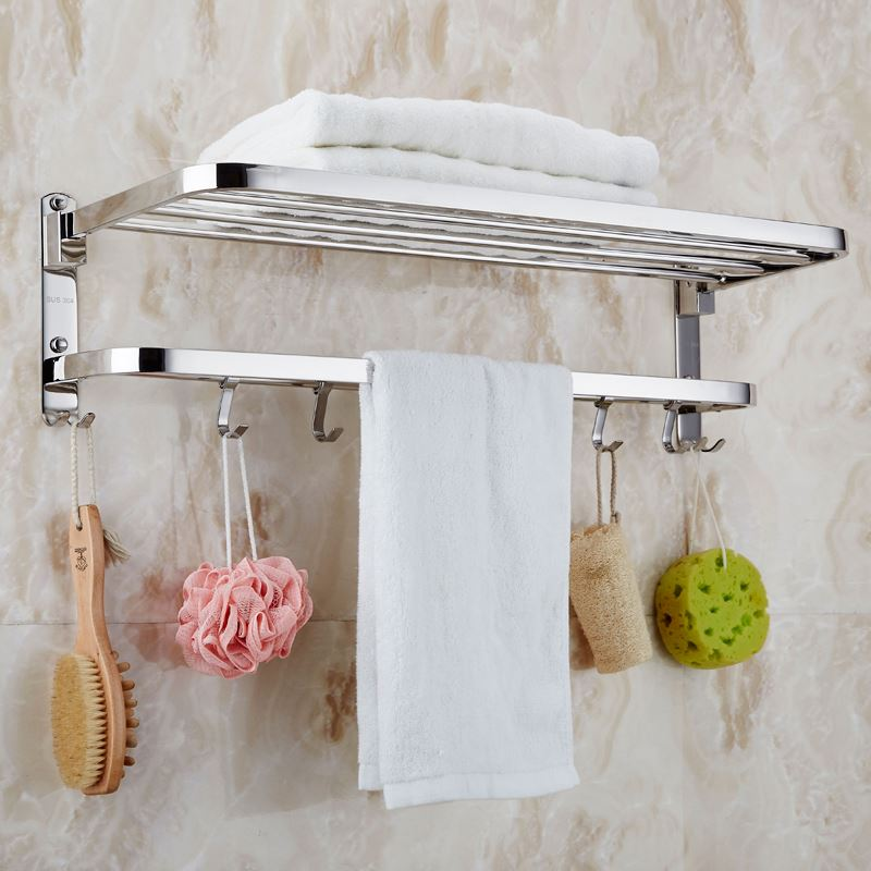 304 Stainless Steel Polished Bath Towel Rack Folding Movable Bath Towel Holder Double Towel Rails Bars with Robe Hook stainless steel square tube rotary electric heating towel bar towel rack