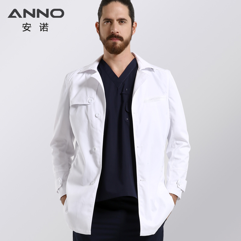 ANNO White Lab Coat For Women Man Button Closure Doctor Uniform Hospital Scrubs Out Wear Medical Clothing Surgical Gown