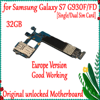 32GB Original Unlocked Motherboard For Samsung Galaxy S7 G930F G930FD Mainboard with Android System Logic board