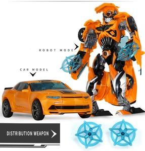 Image 4 - Top Sale 19cm Big Plastic Educational Transformation Robot  action figure toys for children boys deformation car model Toys gift
