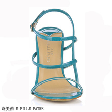 2016 New Female Sandals Summer Evening Shoes Size Special Offer Simple Small Blue High-Heeled Shoes 5186-4a