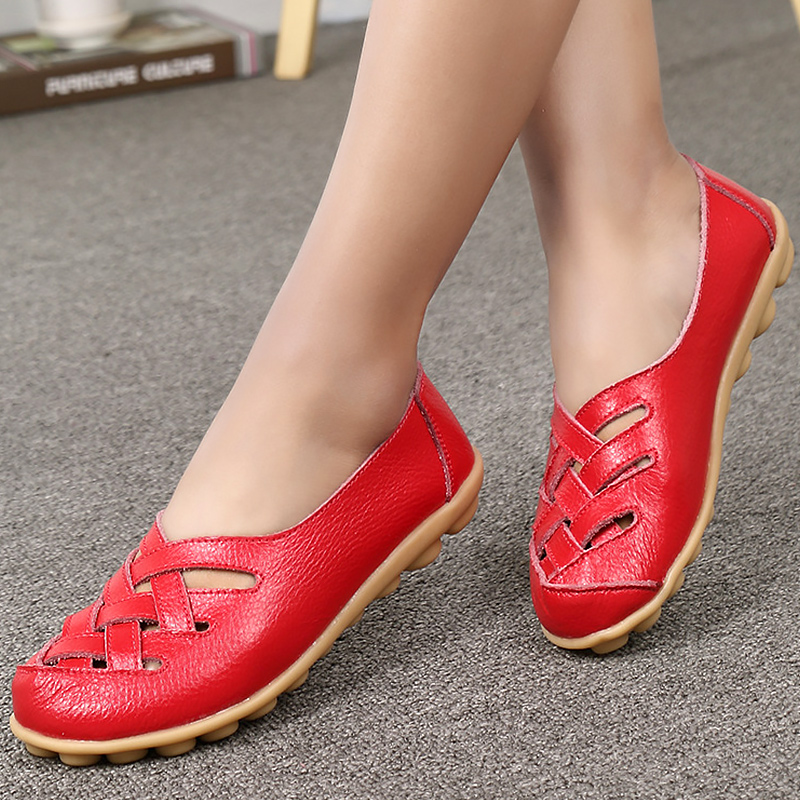 genuine leather shoes hollow slip-on round toe basic women loafers casual solid flat shoe spring/autumn large size 35-44 casual flat shoes woman 2018 spring solid loafers slip on flats fashion round toe women shoes 3 colors size 35 40 f039
