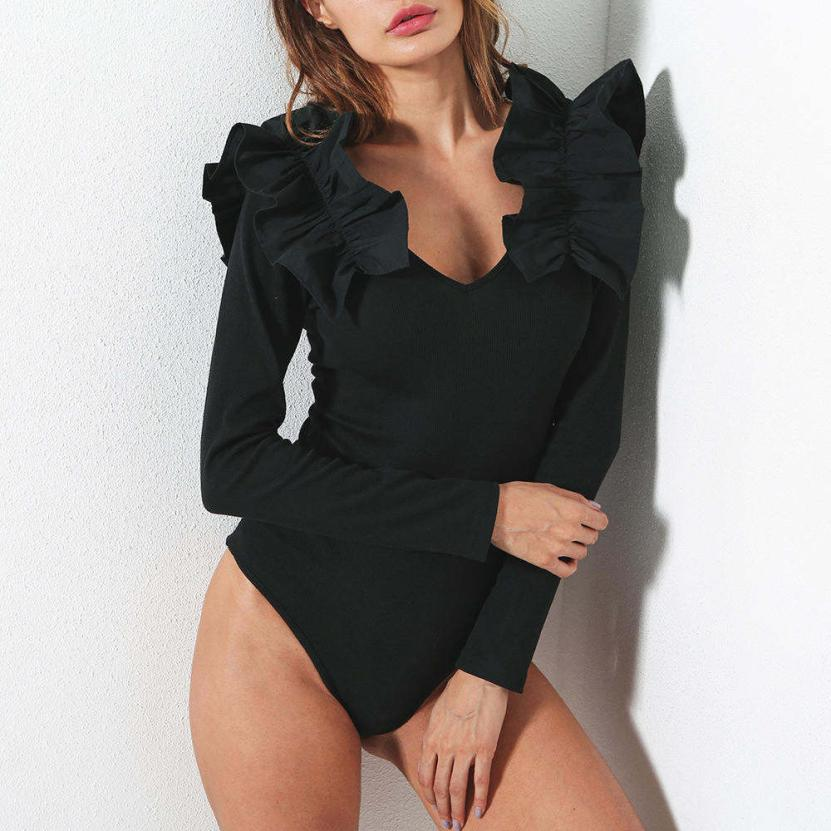 KANCOOLD Bodysuit new fashion V-neck patchwork lace long-sleeved Slim conjoined clothes high quality bodysuit sexy jan9