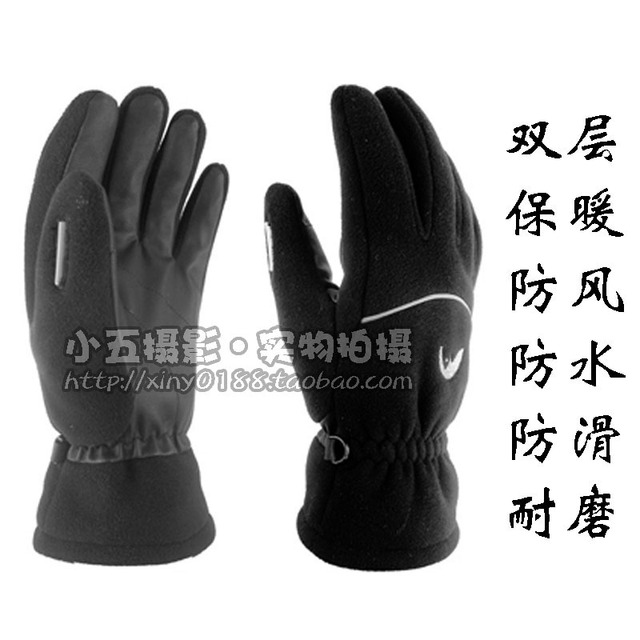 Winter thermal gloves double layer fleece outdoor waterproof slip-resistant thickening cold-proof skiing bicycle