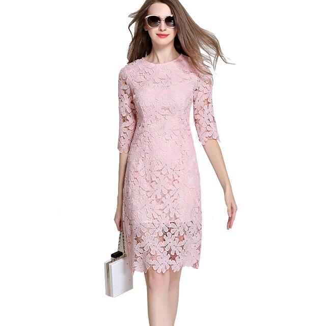 2018 Pink Lace Dresses Ukraine Woman Hollow Out Half Sleeve Flower Short Crochet Dress Bodycon Party Dresses Vestido De Renda