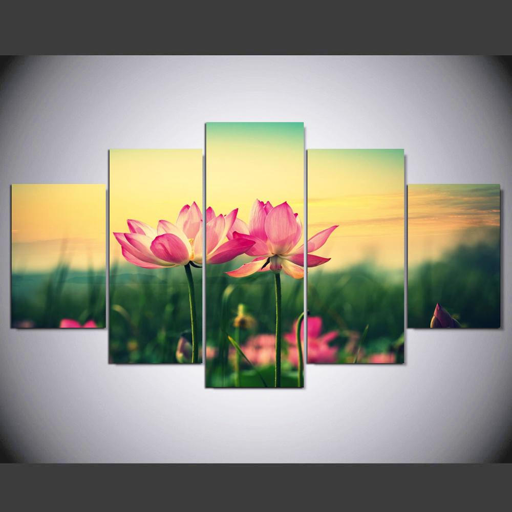 5 pieces Canvas Wall Art Hand Painted Canvas Painting Lotus Pool ...