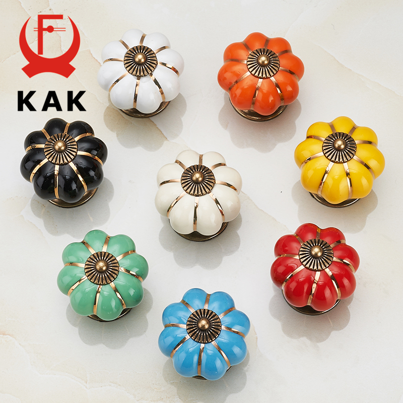 KAK 5pcs/lot Pumpkin Ceramic Handles 40mm Drawer Knobs Cupboard Door Handles Single Hole Cabinet Handles Furniture Handles kak pumpkin ceramic handles 40mm drawer knobs cupboard door handles single hole cabinet handles with screws furniture handles