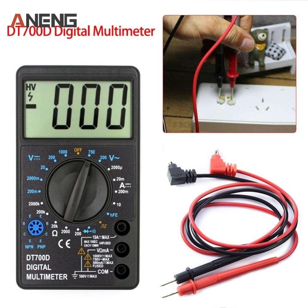 DT700D Mini multímetro Digital de pantalla grande protección de sobrecarga timbre Salida de onda cuadrada Ampere de Ohm comprobador de sonda