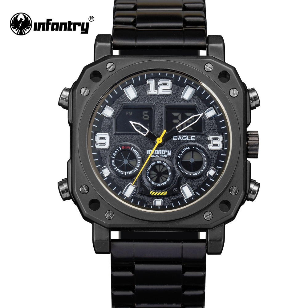 ФОТО INFANTRY Men Watches Luxury Chronograph Date Day Indication Male Clock Waterproof Military Digital Watch Relogio Masculino