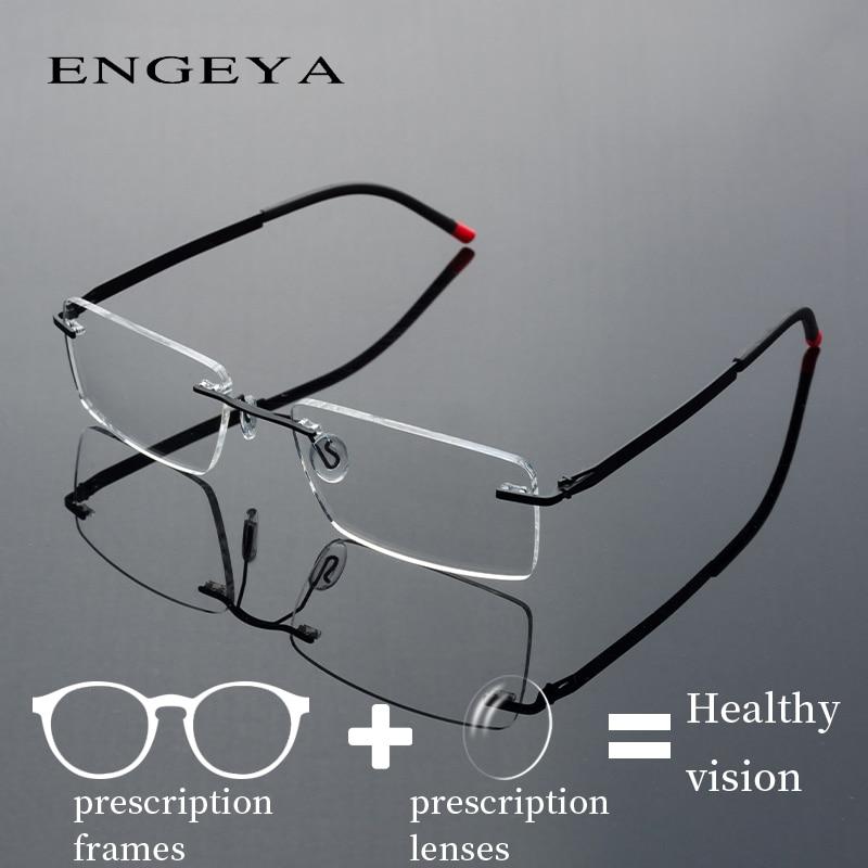 Optical Rimless Eye Glasses Men Retro Myopia Computer Nearsighted Prescription Spectacles Clear Lens #IP8028