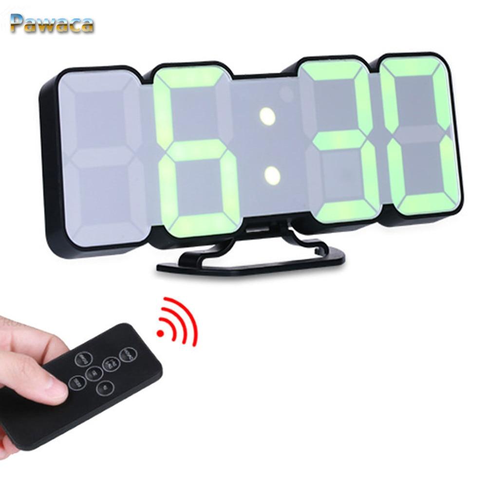 Controllo Vocale remoto 3D LED Digital Alarm Clock Display Tempo data Temperatura In 115 Colori Per Desktop di Casa Orologio Da Parete Decor