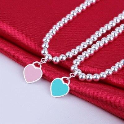 Silverwill 2017 Beads Bracelet 925 sterling silver enamel heart charm bracelet for Girl Romantic Jewelry Birthday