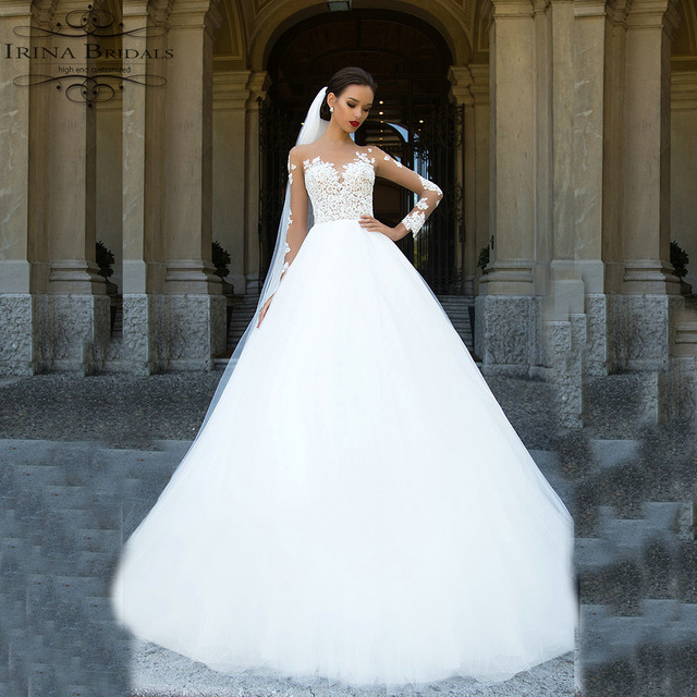 504a9b694d abito da sposa Long Sleeve Lace Appliqued See Through Snow White Wedding  Dress With Sleeves