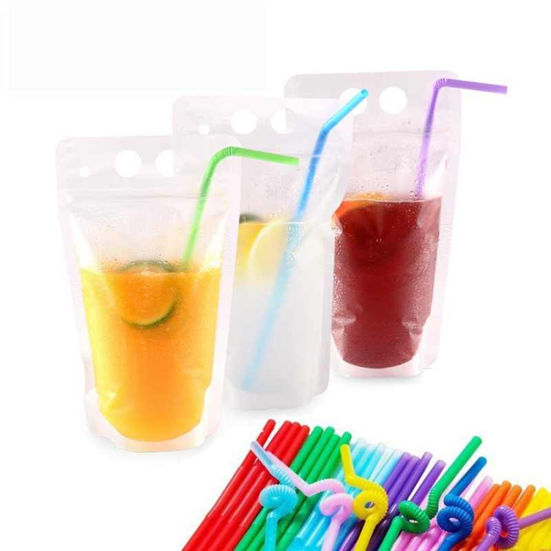50pcs 500ml Stand-up Juice Drink Bag Packaging Bag Spout Pouch for Beverage Liquid Juice Milk Coffee Candy Beans Nut