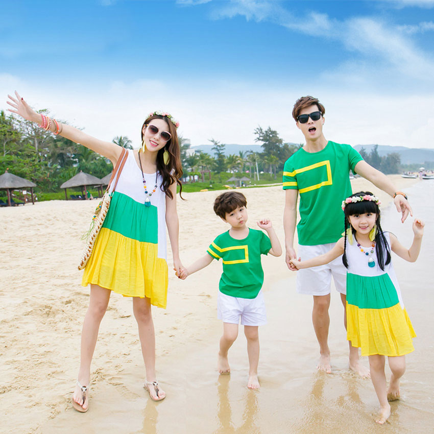 Family Matching Clothes Beach Chiffon Striped Girls Dress Father Son T Shirts+shorts Sets ...