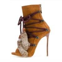 Fashion Sexy Newest Flock Cross tied High Heel Sandals Woman Colorblock Elegant Summer Dress Office Short Boots