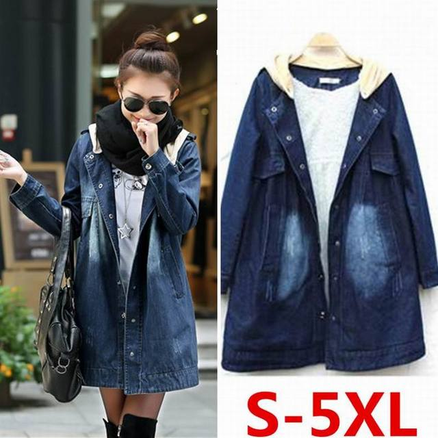 Maternity clothing 2016 autumn and winter thickening plus velvet fashion plus size loose denim trench medium-long outerwear