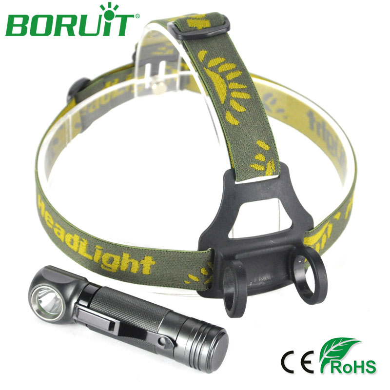 BORUiT 1000lm LED Headlamp Flashlight 3 Modes Portable Camping Lantern Waterproof Hunting Fishing Head Torch Light 18650 Battery