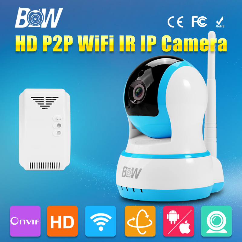 BW HD 720P Wireless IP Camera Wi-Fi P2P Onvif PTZ Security Camera WiFi IR-Cut Night Vision + Gas Detector Alarm Baby Monitor hd 720p onvif 2 0 security antenna ip camera wifi cmos night vision h264 ptz motion detection ir indoor security camera