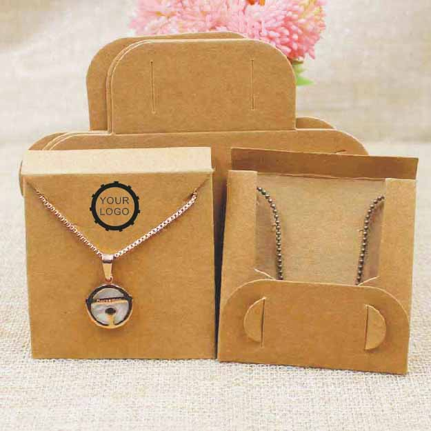 <font><b>1000</b></font> pcs per lot kraft/black necklace pendant packing card with back folded jewelry display card <font><b>63</b></font>*63cm Custom Your Own Logo image