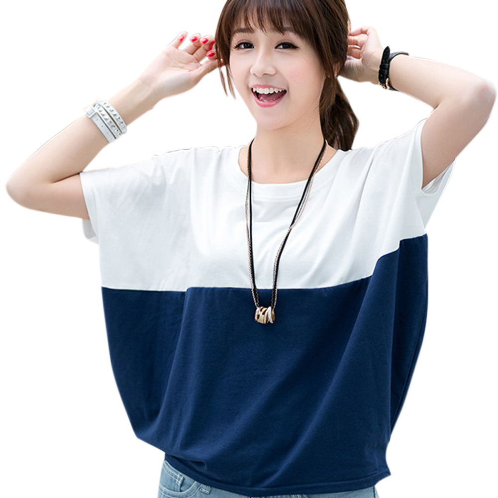 Women Summer Short Sleeve Tops Batwing-sleeved Loose Round Neck Plus Size T-shirt -MX8