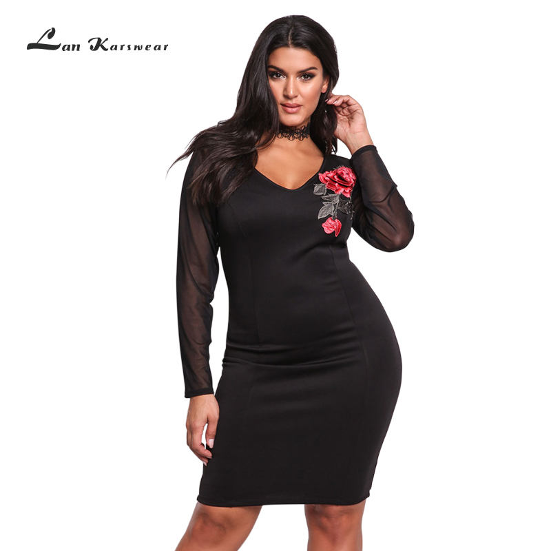 Lan Karswear 2018 Bandage Dress V neck Long sleeve Sexy Club Party Mesh Embroidery Plus Size
