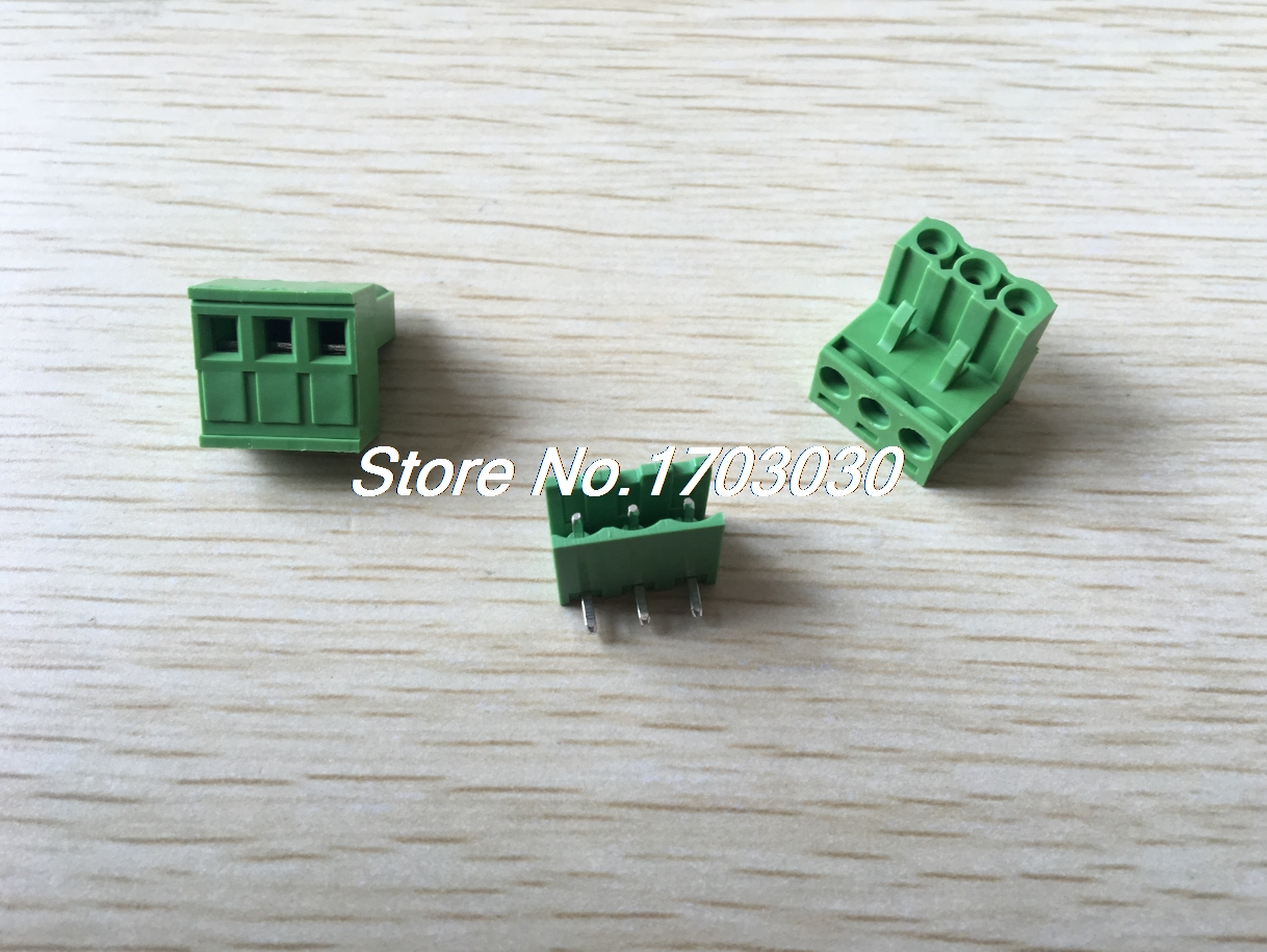 100 pcs 5.08mm Close Angle 3 pin Screw Terminal Block Connector Pluggable Type 50 pcs 5 08mm angle 8 pin screw terminal block connector pluggable type green