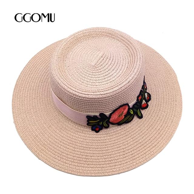 Dropshipping Moda Chapéu de Palha Para As Mulheres Bordados de Flores Fita  Plana cap Verão Aba d5711b1e5a