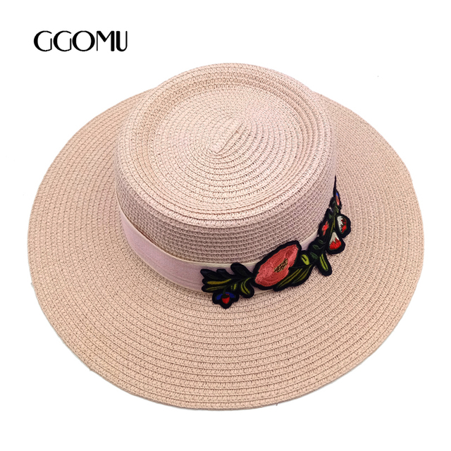 9ab8638e480 dropshipping Fashion Straw Hat For Women Flower Embroidery Ribbon Flat cap Summer  Wide Brim beach sun