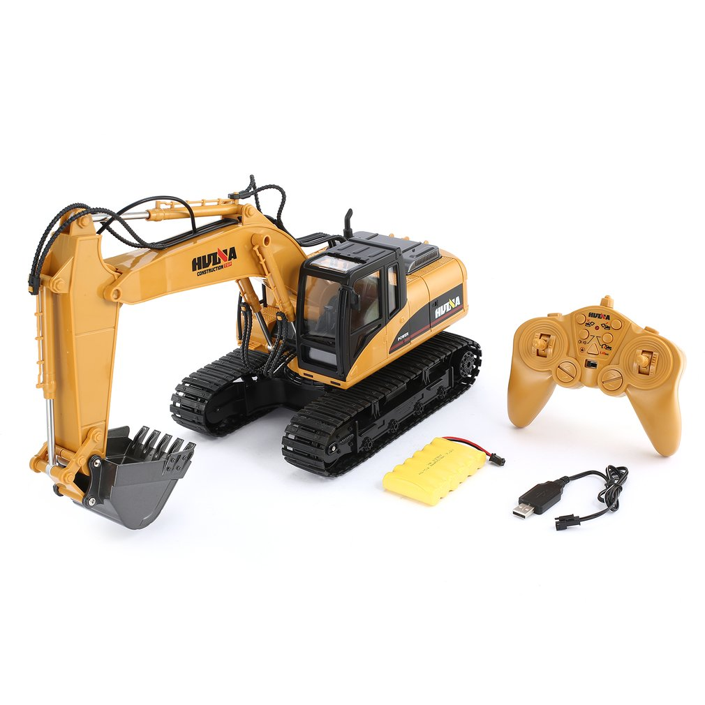 HuiNa RC Crawler Car Toys 15 Channel 2.4G 1/14 RC Excavator Charging RC Car With Battery RC Alloy Excavator RTR For kids