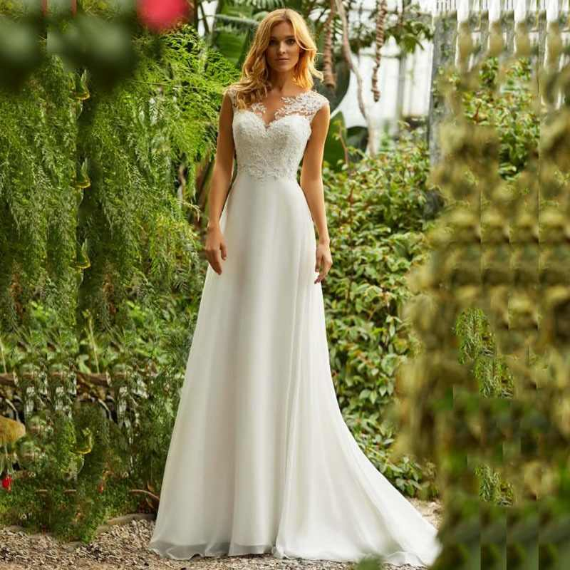 LORIE Boho Wedding Dress O-Neck Appliques Lace Top A Line Vintage Princess Wedding Gown Chiffon Skirt Beach Bride Dress 2019 Hot