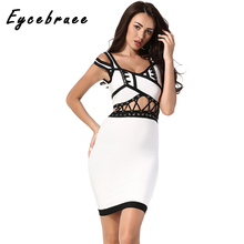 2017 Eycebruee Women Bandage Dress Evening Party Bodycon Hollow Out Spaghetti Strapless Patchwork Club Wear Sexy Long Vestidos