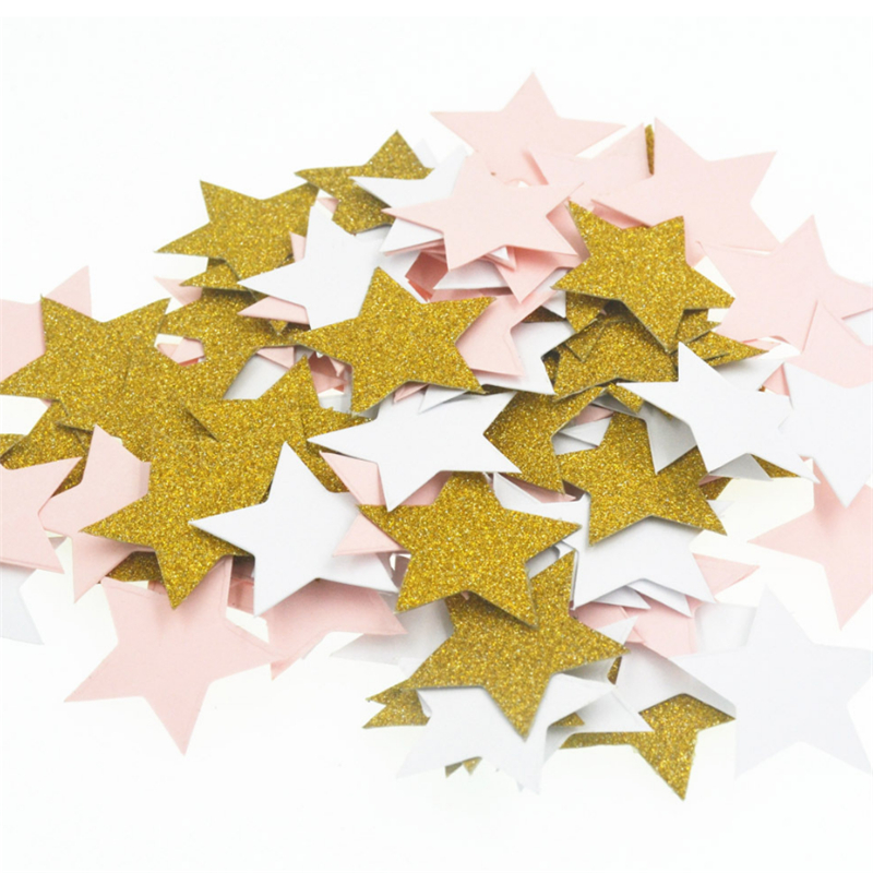100pcs Stars Glitter Table Confetti Birthday Party Wedding Decoration Sparkle Multicolor/Gold/Blue/Rose Paper Confetti Supplies