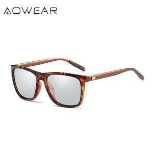 Image 3 - AOWEAR квадратные очки Хамелеона, женские поляризационные фотохромные солнцезащитные очки HD для вождения, Винтажные Солнцезащитные очки для мужчин и женщин