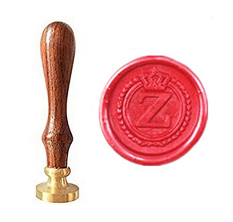 MDLG Vintage Alphabet Letter Z Crown Wedding Invitations Gift Cards Wax Seal Stamp Stationary Sealing Wax Stamp Wood Handel Set elegant flower lace lacut cut wedding invitations set blank ppaer printing invitation cards kit casamento convite pocket