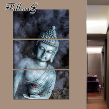 FULLCANG diy 3pcs/set diamond painting smoke buddha icon triptych mosaic cross stitch embroidery full square drill G1018