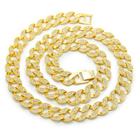 CZ Iced Out Miami Cuban Chain Necklaces Men Gold Hip Hop Necklace Hippie Rock Jewelry Party