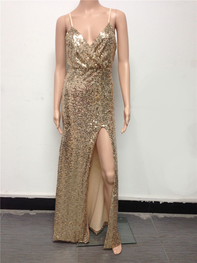 Latest Design spaghetti strap womens sequin maxi dresses High Split sexy  Gold long dress Prom Ball Gown Party Dress-in Dresses from Women s Clothing  on ... f1ee8552dc90