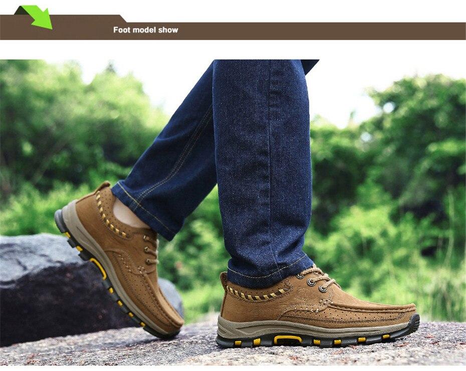 NINYOO clásicas de los hombres al aire libre zapatos de cuero genuino  zapatos de plataforma otoño Lace Up viaje zapatos de goma antidesgaste  tamaño 46 47 48 0cce6f38920