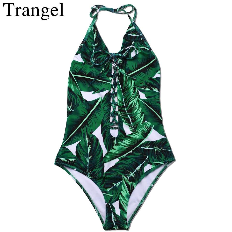 Trangel Blackless One Piece Swimsuit Leaf Print Bodysuit Women Swimwear Bandage Cut Out Bathing Suit Beach Swim Wear fashionable strappy printed cut out one piece swimsuit for women