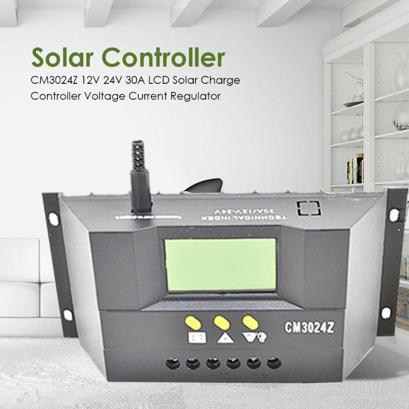 CM3024Z 12V 24V <font><b>30A</b></font> LCD Display <font><b>Solar</b></font> <font><b>Charge</b></font> <font><b>Controller</b></font> Voltage Current Regulator <font><b>PWM</b></font> Smart <font><b>Solar</b></font> Regulator Measurment Tools image