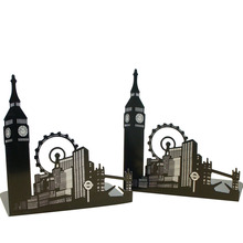(2 Pieces/Pair) Portable Architecture Themed Two Loaded Metal Book Bookend Holder Ferris Wheel Shape Office School Supply